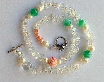 Quartz Crystal, Freshwater Pearls, Hand Carved Coral, and Vintage Green Beads Necklace