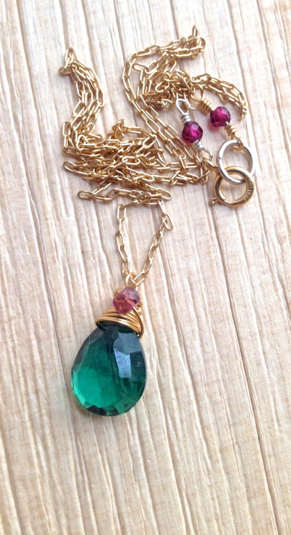 Heart Chakra Pendant Necklace, Green Quartz & Pink Tourmaline Drop Necklace, Minimalist Necklace, Gift For Her, May and October Birthstone