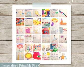 Children's Art work Collage, Kids Art Display, children's artwork display, child's artwork, Gift for Mom, Child College, instagram collage