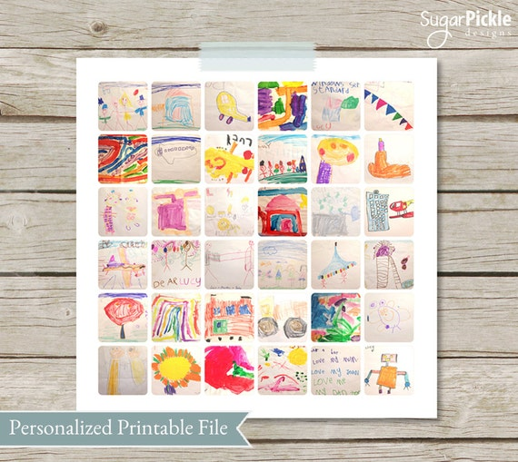 Children's Art work Collage, Kids Art Display,  Gift for Mom, Child College, instagram collage