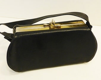 50s Handbag / 50s Purse / Black Leather Handbag / 50s Leather Purse / Black Leather Purse / 50s Black Purse / 50s Leather Handbag