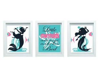 Mermaid Decor, Little Mermaids Always Make Her Bed Print, Mermaid Nursery Decor, Little mermaid Theme Decor, Baby Girl Nursery Decor