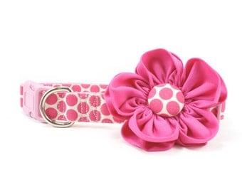 Hot Pink Flower Dog Collar Polka Dot Honeycomb Dog Flower Collar