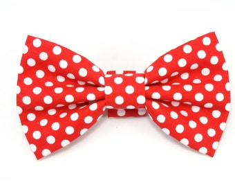 Red Polka Dot Dog Bowtie Red Cat Bow Tie Removable