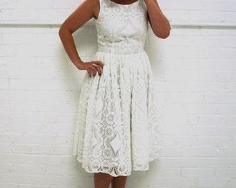 50's Style White Lace Dress - eco wedding dress 'Alice'