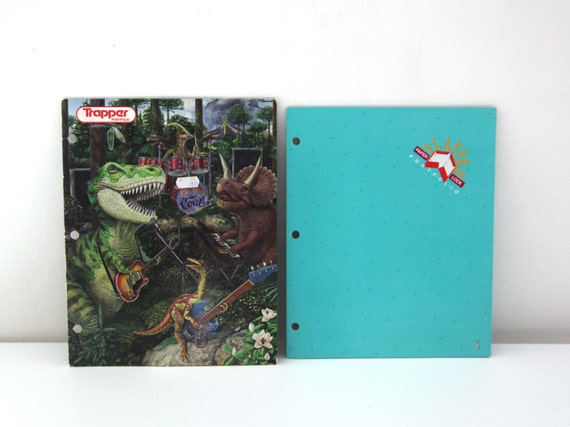 items similar to vintage trapper keeper folders mead 80s dinosaurs on etsy
