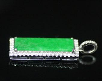 "Certified Jadeite ""Type A"" Jade and Diamond Pendant. 18K. Hand engraved. WOW!"