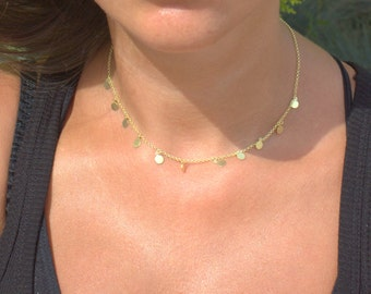 Delivery in 3 days by DHL Fatima Necklace - Gold Disc Necklace,Wedding necklace, Bridesmaid necklace,
