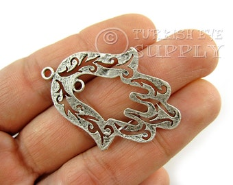 2 Pc Silver Fretworked CutOut Hamsa Pendant, Hand Charms, Antique Silver Plated Turkish Jewelry, Silver Hamsa, Hamsa Charm, Hamsa Pendant