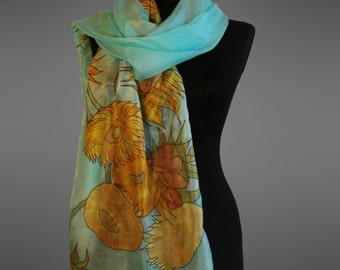 Van Gogh Sunflowers silk scarf. Hand painted silk scarf.  Pure silk scarf. Made to order.