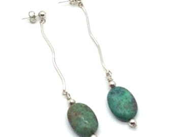 Hanging Around, Sterling Silver, Turquoise, Green, Silver, Gift Idea, Swinging, Earrings, Long Earrings