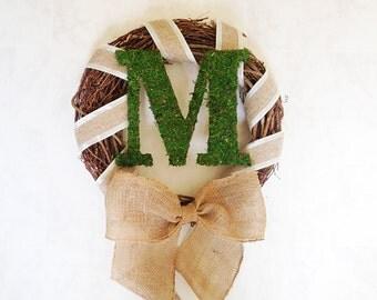 spring wreath, door wreath, summer wreath, spring door wreath, personalized wreath, monogram wreath, moss wreath