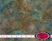 AQUA & BROWN BATIK Fabric by the Yard Half Yard Fat Quarter Grotto Branches Batik Fabric Hand Dyed Quilting Apparel 100% Cotton Fabric t7-5
