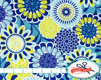 LIME & BLUE FLORAL Fabric by the Yard, Fat Quarter Royal Blue Fabric Aqua Fabric 100% Cotton Fabric Quilting Fabric Apparel Fabric a4-37