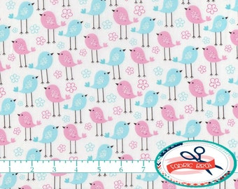 BABY BIRDS Fabric by the Yard, Fat Quarter Blue & Pink Fabric Baby Chick Fabric Blue Apparel Fabric Quilting Fabric 100% Cotton Fabric w3-19