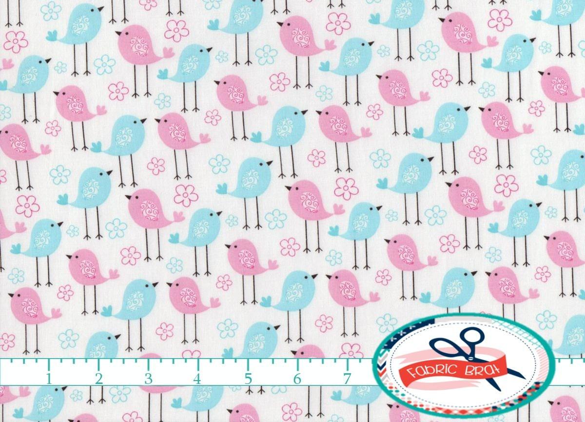 Baby birds fabric by the yard fat quarter blue pink fabric for Baby fabric by the yard