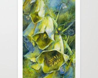 Flower Art Print, Fine Art Print, Flower Print, Acrylic and Mixed Media Giclée Print, Choose Size, Free Shipping
