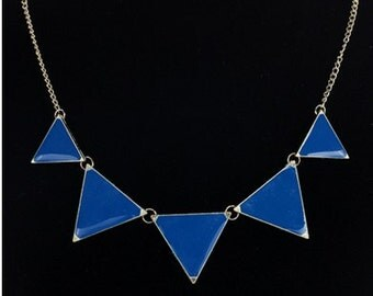 Blue Triangle Necklace, triangle necklace, triangle jewelry, necklace, statement necklace, statement jewelry, gold necklace, jewelry