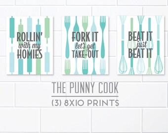Set of 3 Kitchen Prints, Kitchen Utensil Art, Colorful Kitchen Prints, Kitchen Pun Art, The Punny Cook, Retro Kitchen Art, Kitchen Decor