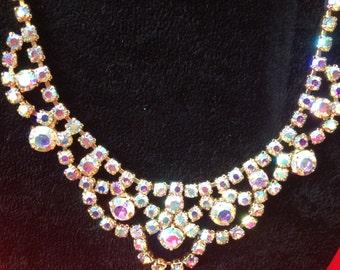 1950 Vintage Aurora Borealis Necklace