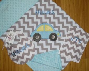 Car - Personalized Minky Blanket and Grey Chevron Bib & Burp Cloth