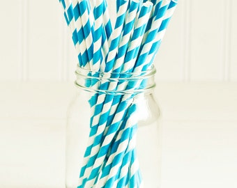 Paper Straws in Teal Blue & White Stripes - Set of 25 - Turquoise Cute Fun Unique Pretty Wedding Birthday Party Shower Accessories Decor