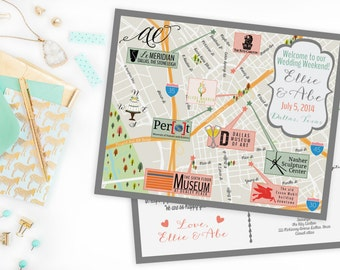 Custom Wedding MAP- Any Location Available- Dallas,Texas Map Pictured- Destination Wedding, City Map-Wedding Map Save the Date Map Post Card