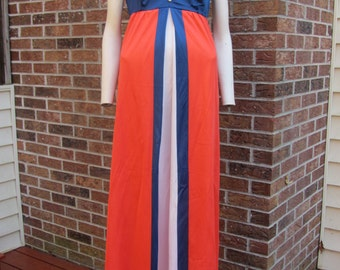 Full Length Negligee - Size 36 - Vanity Fair - Red white blue
