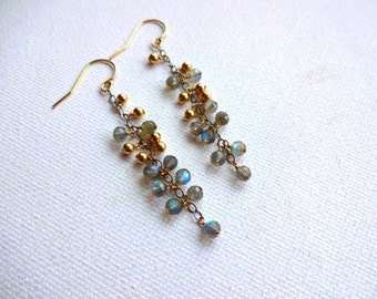 Handmade Natural Labradorite Cluster & 14k Gold Fill Bead Dangle Drop Earrings - Modern; Delicate Natural Stone Mixed Metals Earrings