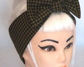 Big BOW Houndstooth Black Headband Pinup Vintage Retro Style 50s Rockabilly