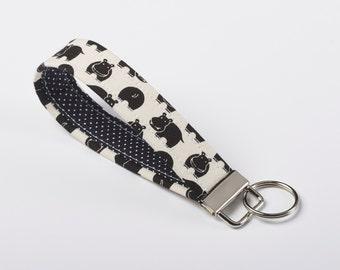 Hippo Keychain, Fabric Key Fob, Wristlet Strap - Black and White