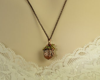 Copper Locket Necklace, Four Leaf Clover, Green Crystals, Lucky Charm, Good Luck, Girlfriend Gift, Daughter, BFF, Valentine, Irish, N1216