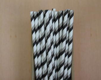 25 black & gray bicolor striped paper straws (PS021415) - Party straw
