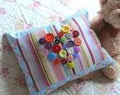Love Heart Button Cushion - Small 10 x 8 Inch Decorative Pillow in Candy Stripes and Bright Colours