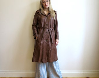 Brown Leather Coat Vintage 80's Women's Genuine Leather Trench Coat Medium Size