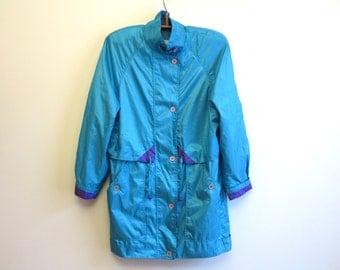Turquoise Purple Womens Windbreaker Jacket Oversized Lightweight Parka Extra Large Size