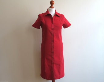 Red Stretchy Shirtdress Buttons Up Dress Short Sleeves Knee Length Fitted Dress Medium Size