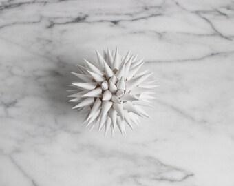 Polish Star Ornament Bright White Modern  | Jezyk Paper Star Folk Art Spiky Ornament, 4.5 inch