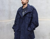 90s Military M65 Navy Blue Field Parka Jacket  // John Ownbey CO. //  Mens XL