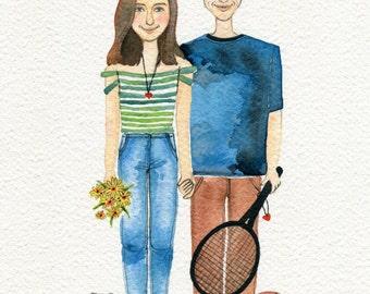 AN original couple portrait, custom portrait, watercolor portrait, Mordern watercolor illustration,  custom  illustration.
