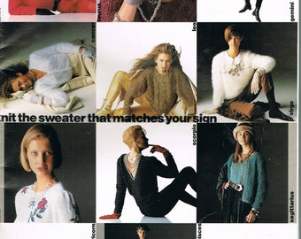 SALE! PINGOUIN Knitting Magazine 130 - Horoscope Sweaters - Winter Sweaters - Evening Sweaters