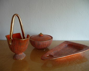 Italian Pottery Set of Three 24 Carat Gold Trimmed Scored and Textured Gold and Orange Pottery Mid Century Orange Kitschy Decor