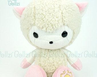 "Bellzi® Cute White w/ ""Pink"" Contrast Sheep Stuffed Animal Plush - Bella"