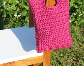 Crochet Little Girl's Purse, Raspberry Pink Crochet Hand Bag, Crochet Girl's Clutch, Girl's Tote, Little Girl Gift