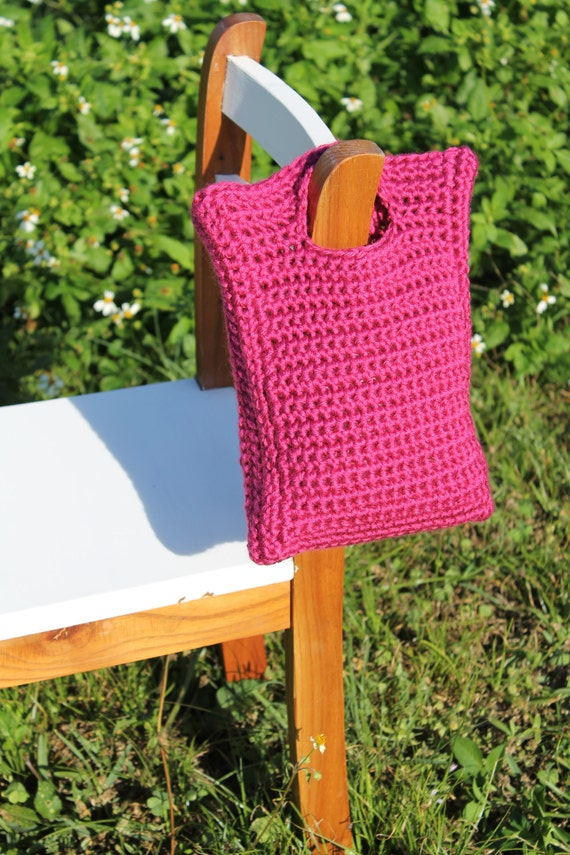 Crochet Little Girls Purse, Raspberry Pink Crochet Hand Bag, Crochet ...