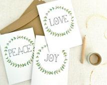PEACE LOVE JOY . christmas greeting card set . art . xmas holiday wreath . australia wandarrah etsyau