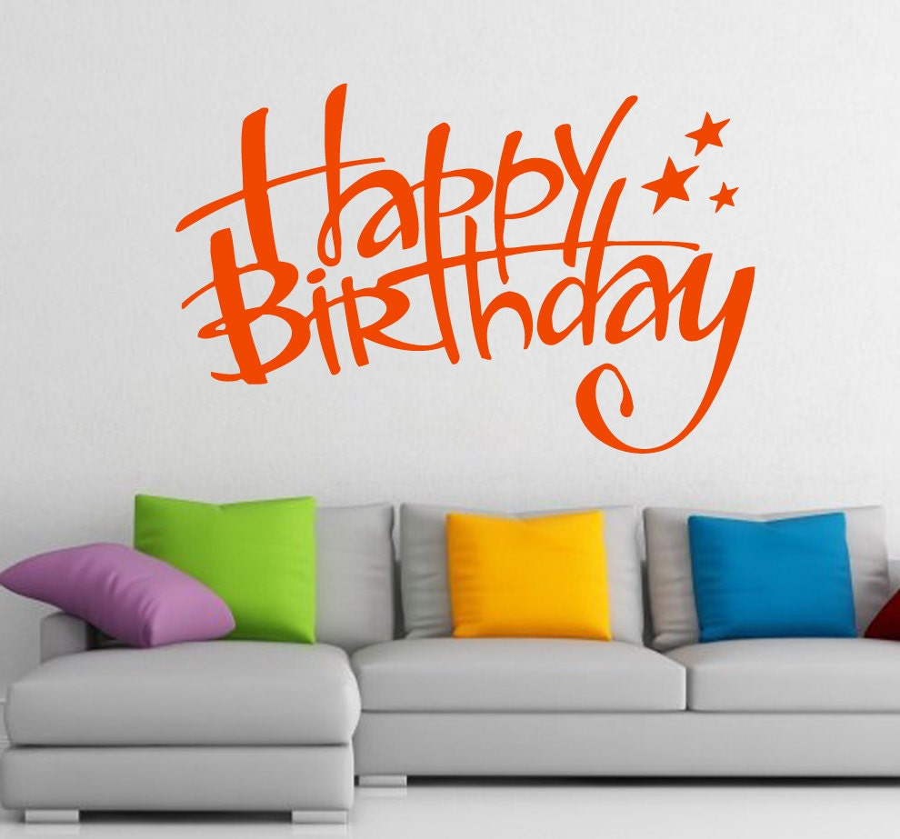 free shipping wall decals happy birthday lettering stars