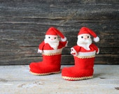 vintage christmas santa boot ornaments pair mid century st. nick stocking