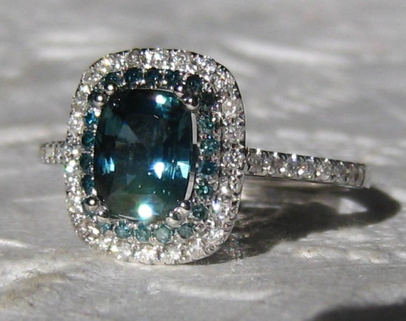 1 4 Carat Untreated Teal Blue Sapphire and Blue Diamonds in