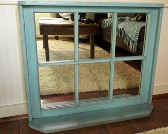 custom vintage reclaimed wood window frame mirrors with top and bottom shelf - Window Frame Mirrors